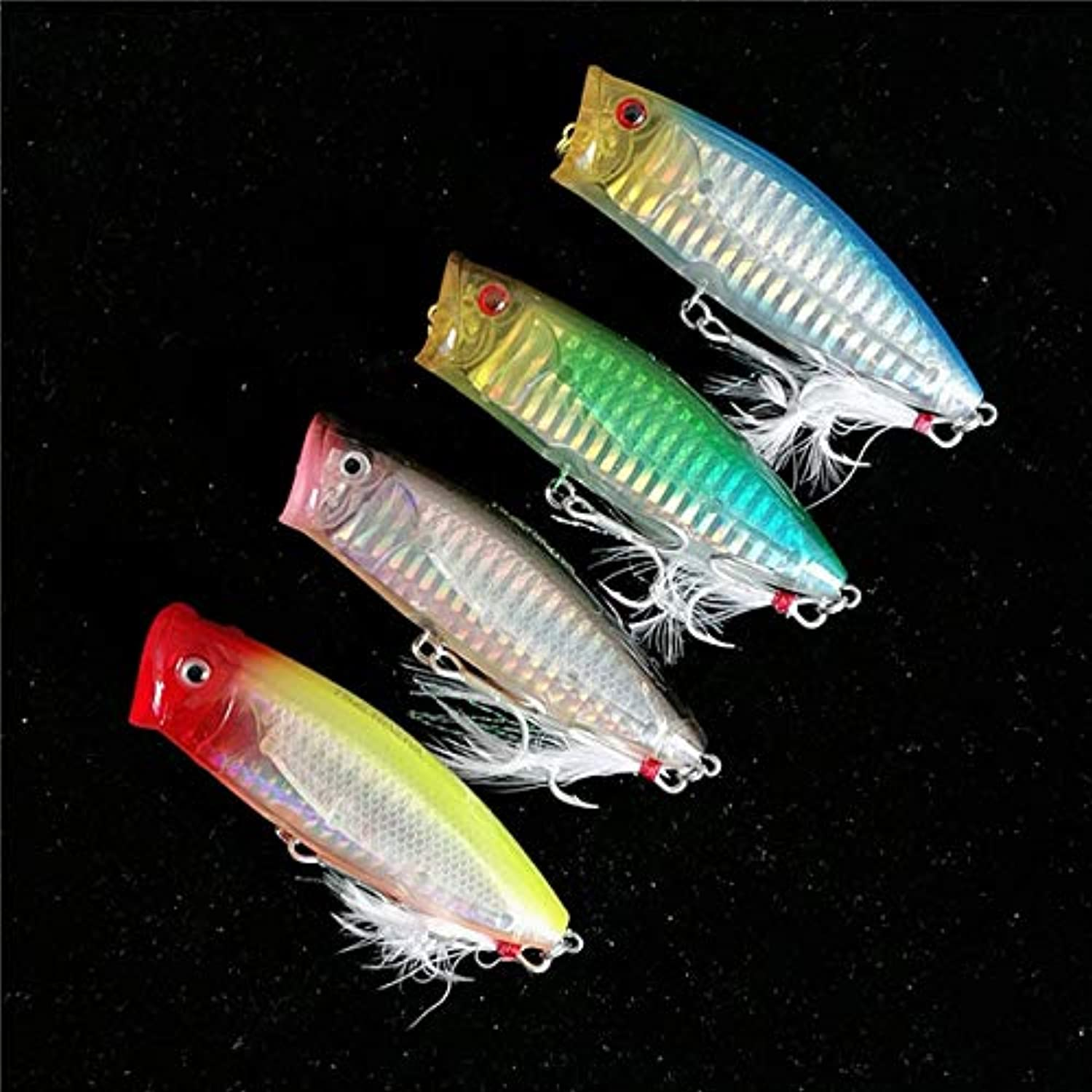 4pcs Poppers Fishing Lure 80mm 20g TopWater Floating Fishing Hard Lure Set Artificial Plastic Fish Bait Hooks  (color  4pcs 0014)