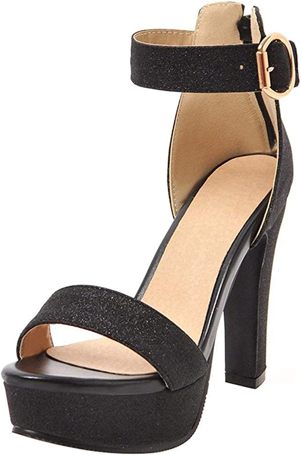 Gedigits Women's Sexy Sequined Buckle Ankle Strap Open Toe Chunky High Heels Platform Sandals with Zipper Purple 6.5 M US