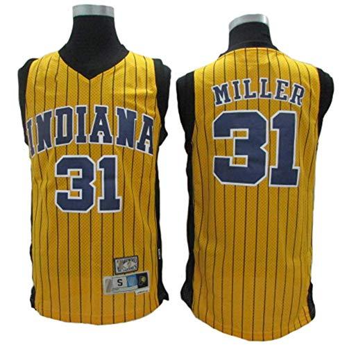 LSJ-ZZ Maglia da Basket NBA Indiana Pacers # 31 Reggie Miller, Tessuto Traspirante Fresco Nuove Maglie retrò Ricamate, Unisex Uniforme da Tifoso,Giallo,XL:185cm/85~95kg