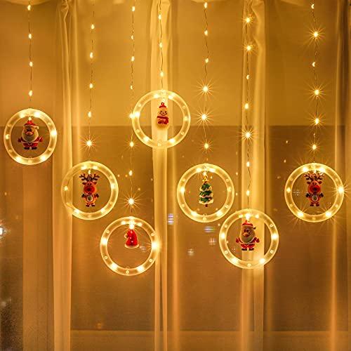 decorazioni natalizie da appendere Luci di stringa per tende da finestra di Natale