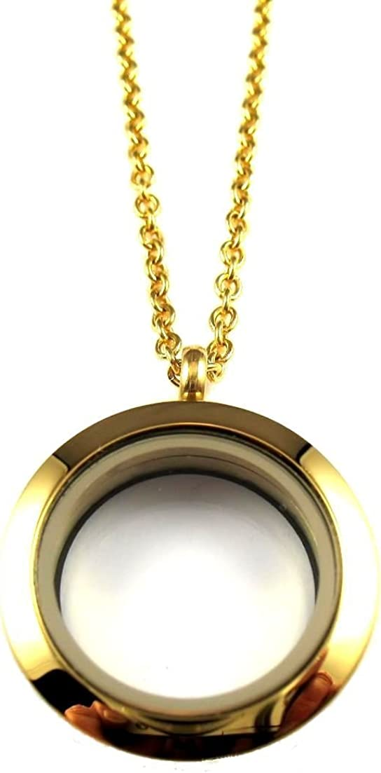 FCL Designs - 25mm Plain Gold Floating Charm Locket Necklace