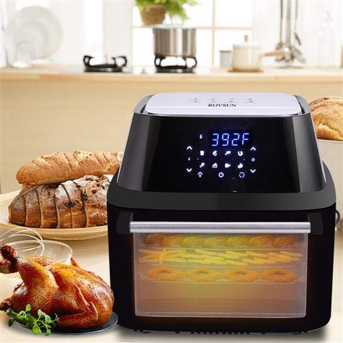 Mefeir Electric 8-in-1 Air fryer, 1800W Best Fries Ever, Dehydrator, Toaster Oven, Hot Oven Oilless Cooker LED Touch Digital Screen with 8 Cooking Presets & 9 Accessories, 17 QT