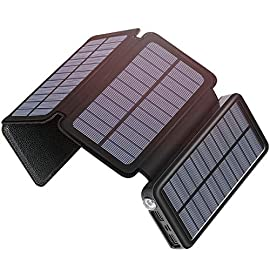 Solar Charger 25000mAh, SOARAISE Portable Power Bank with USB Type-C Input Waterproof Battery Pack for Smartphone… 1 25000mAh Capacity: It consists of Li-polymer cells, which can charge iPhone 8 over 9 times, Galaxy 6s over 6 times, iPad Mini4 over 4 times, after a full charge, you can use it for 10 days. 4 Solar Panels: Solar power is 6W and the current is up to 1A in the direct sunlight.The energy conversion is up to 80% of 1A adapter. Both Micro usb and Type-C charging are supported. Charge Your Laptop: You can quickly charge your laptop via USB-A to USB-C cable. It can charge a 6000mAh laptop for 2.8+ times.