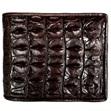 CHERRY CHICK Men's Alligator Wallet Crocodile Wallets Billfold ChristmasGift (Brown-Back-Horizontal)