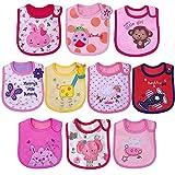 Yafane Lot de 10 Bébé Bavoir Imperméable Coton Bavoirs Bandana Bavette pour Bébé Garçon Filles 3 à 24 mois (Girl B)