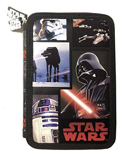 Star Wars doppelte 2-Fach Federmappe Federtasche mit 26 Teilen gefüllt