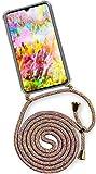 ONEFLOW® Handykette kompatibel mit Huawei P30 - Handyhülle mit Band zum Umhängen Case Abnehmbar Smartphone Necklace - Hülle mit Kette, Regenbogen Bunt