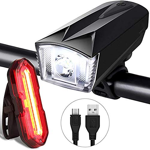 AIMMMY Moto Luces Conjunto, USB Recargable Luz De Bicicletas con 300LM Impermeable Frente Linterna Y 100LM Luz Trasera De Night Rider