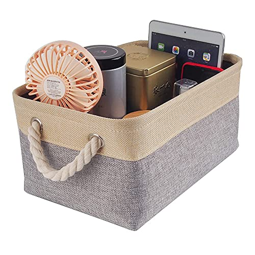 MANGATA Cajas de almacenamiento, pequeñas cestas de almacenamiento de tela con asas de cuerda para armarios, estantes, guardarropa, juguetes, ropa (plegable, gris beige)