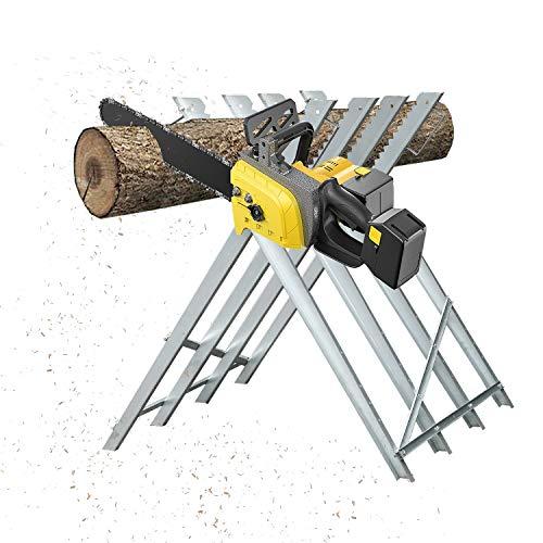 Hengda Kettensägebock max. 150 kg verzinkte Winkelprofile aus Metall, zusätzliche Querstreben, Zähne verhindern Verdrehen des Holzes, 4 Arbeitshöhen