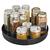 mDesign Especiero giratorio para cocina – Elegante estante para especias, condimentos, ingredientes de hornear o conservas – Bandeja giratoria redonda para aparador o armarios de cocina – negro
