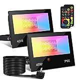 Projecteur LED extérieur 40W 4000LM, Projecteur à changement de couleur RGBW, Équivalent 400W, Lumière d'inondation RVB blanc chaud 2700K, Applique murale (Paquet de 2) [Classe énergétique A ++]