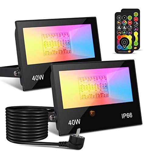 Faretto LED da Esterno 40W 4000LM, faretto che cambia colore RGBW, equivalente a 400W, luce di inondazione RGB bianca calda 2700K, Proiettori per esterni(confezione da 2) [Classe energetica A ++]