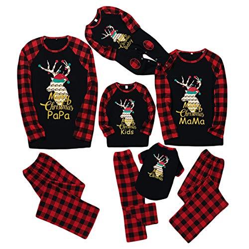 Rehomy Family Christmas Juego de ropa de Navidad Trajes de Navidad Ropa de Dormir Reno Plaid Pijamas para Mascota Bebé Niño Mamá Papá