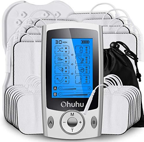 Ohuhu Electroestimulador Digital Masaje EMS TENS Portatil, 20 Modos 24 Pads 2 Canales Estimulador Muscular Recargable Masajeador Electro para Alivio del Dolor de Cervical/Piernas/Abdominal/Espalda