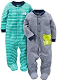 Simple Joys by Carter's Baby Boys' 2-Pack Cotton Footed Sleep and Play, Navy/Turquoise Stripe, 3-6 Months