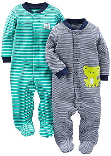 Simple Joys by Carter's Paquete de 2 pieles de algodón para dormir y jugar ,Navy/Turquoise Stripe ,0-3 Meses