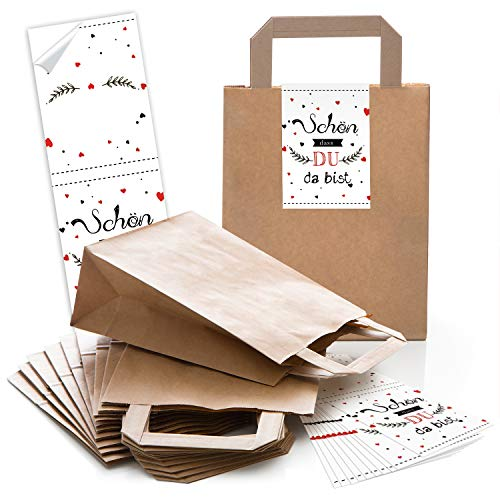 Logbuch-Verlag geschenkzakjes - papieren zakken + sticker Mooi DASS DU DA BIST wit rood - verpakking Give-Away gastgeschenk bruiloft verjaardag landhuis 5 Stück bruin