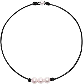 HiRinK Single Pearl Choker Necklace Summer Beach Choker 3 Pearl Bead Necklace on Genuine Leather Cord Knotted Jewelry for Women Girls