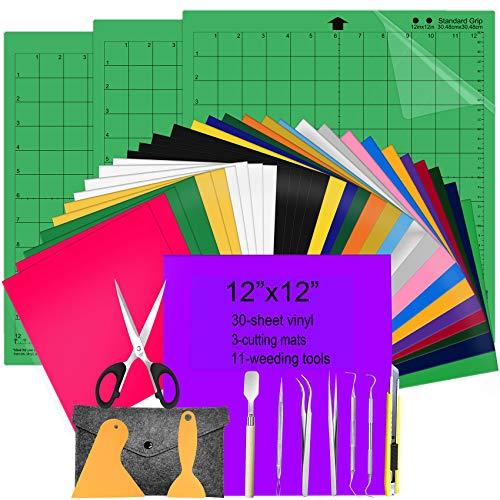 "HIRALIY Heat Transfer Vinyl HTV Bundle Iron On Vinyl Sheets 12x12"" 30-Pack, Cutting Mats for Silhouette Standard-Grip 12x12"" 3-Pack, 12-PCS Vinyl Weeding Tool Set for Silhouette Cameo"