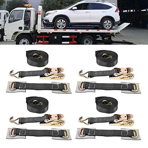 Set van 4 spanbanden voor wielen van legering voor aanhangers, professionele ratelriemen met beschermkussen, sjorriem met spanriem voor voertuigen, 5 ton belasting, zwart