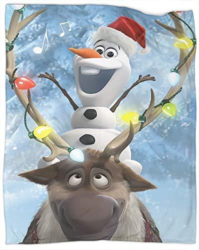 Manta de franela de forro polar de Frozen, decoración de Navidad, Año Nuevo, regalos para sofá de cama y sala de estar, adecuada para otoño, invierno y primavera, tamaño de 127 x 177 cm