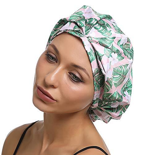 Premium Duschhauben Damen Wiederverwendbare Duschkappe Wasserdichte Elastisch Mädchen Frauen Duschhauben Shower caps Für Lange Haare (Blatt)