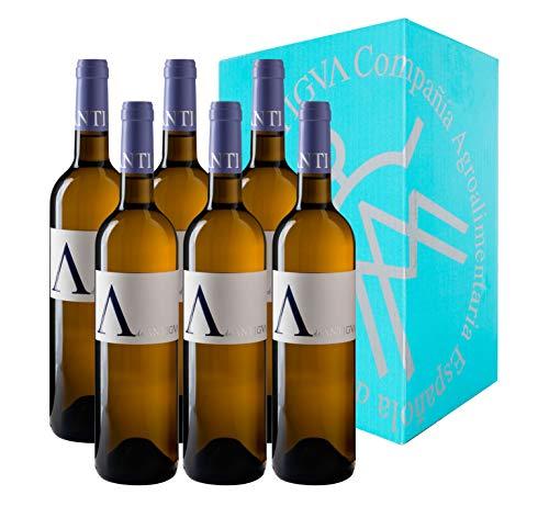 A de ANTIGVA Sauvignon Blanc Vino Blanco - IGP Tierra de Castilla - La Mancha - Caja de 6 Botellas x 750 ml