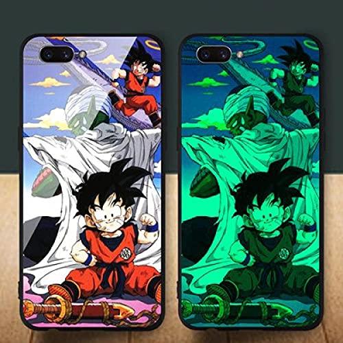 Anime Estuche para Teléfono con Brillo Nocturno Funda Protectora para iPhone Carcasa De Vidrio Templado Antiarañazos Resistente Al Desgaste Dragon Ball Serie (Compatible con iPhone 12 Pro)
