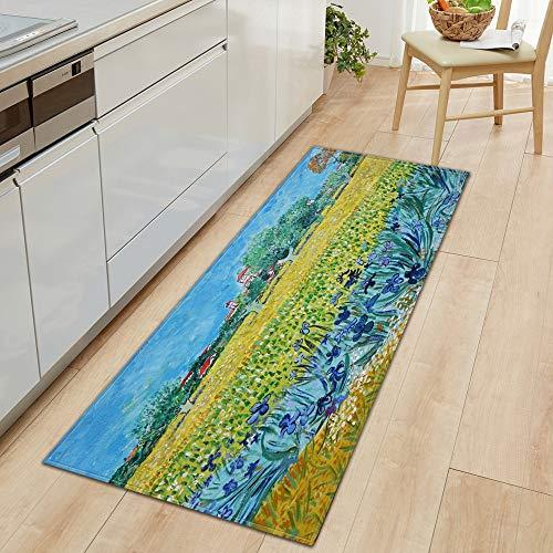 HLXX Moderno hogar Largo Felpudo Sala de Estar Decorar Alfombra balcón Alfombra Impresa Pasillo Piso Antideslizante Alfombra de baño A1 40x60cm