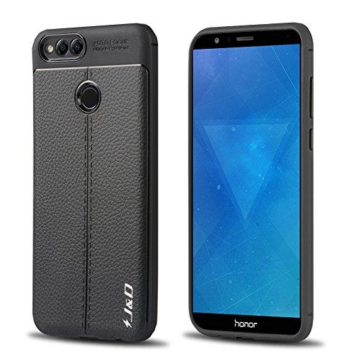 JundD Kompatibel für Huawei Honor 7X Hülle, [Leichter Stoßfänger] [Anti-Kratzter] [Leder Textur Pattern] Stoßfestes Schutz Rubber TPU Slim Case für Huawei Honor 7X - Schwarz
