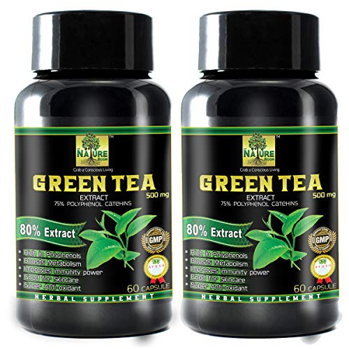 THE NATURE ROOM Green Tea Extract for Weight Loss (Fat Burner) & Antioxidant 50% Polyphenols, 500 mg – 60 Capsules (Pack of 2)