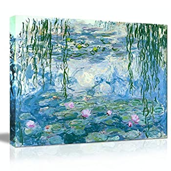 """Picabala Canvas Prints Wall Art Painting Artworks for Home Walls Famous Painting-Water Lilies by Monet Framed and Stretched Picture Ready to Hang for Office Decor-16""""×12  Framed"""