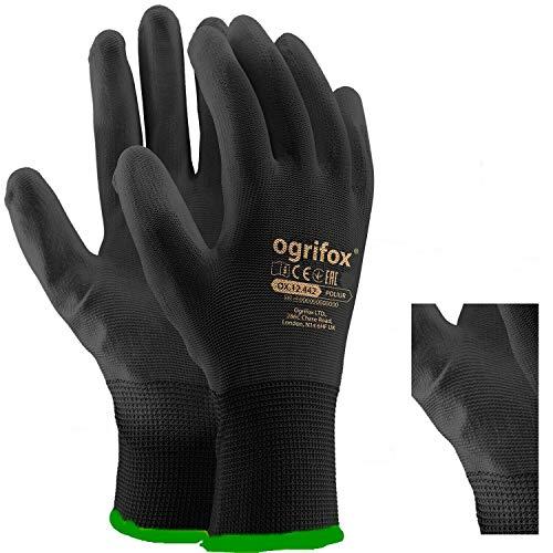 Ogrifox OX-Poliur_Bb7 - Guantes protectores (12 unidades, OX.12.442, pulido), color negro, talla 7