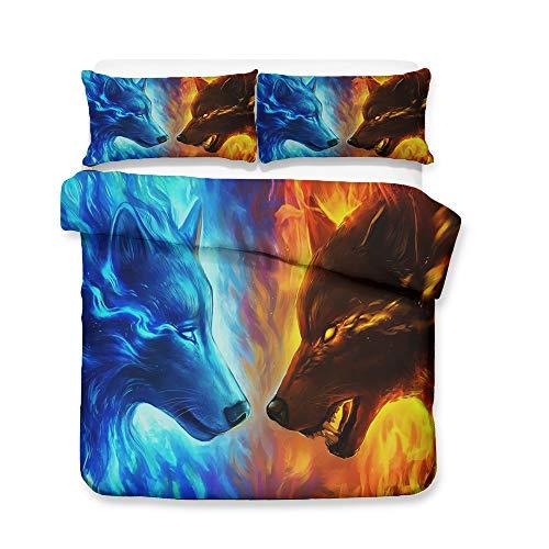 DAISANPANG ICE Wolf VS FIRE Wolf 3D Bedding Set Print Duvet Cover Set Lifelike Bed Sheet (1, Queen)