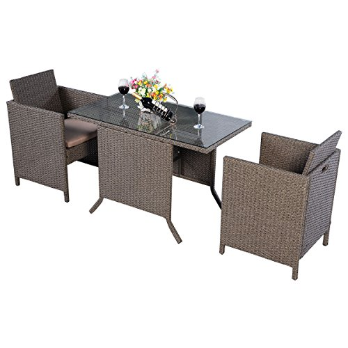 Goplus Set Mobili da Giardino 5pz Leggero,Un Tavolino con Due Sedie in Rattan, Design Unico per Risparmiare Spazio,Ideale per Giardino,Marrone