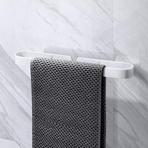 KINLO Handtuchhalter ohne Bohren 40cm Multifunktions Handtuchringe Handtuchstange wandhalterung/Selbstklebender Schuhregal/Topfdeckelhalter/Veranstalter/Aluminium für Badezimmer Küche(Glattes weiß)