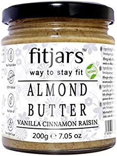 FITJARS Almond Butter with Vanilla Cinnamon Raisins- All Natural Stone Ground Keto Diet Vegan Butters-200 Ge