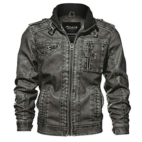 Zicac - Giacca da motociclista con colletto in pelle PU, stile vintage, lavato, per uomo Nero M
