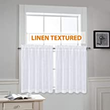 RYB HOME Linen Like White Sheer Drapes Valances Tiers Rod Pocket Casual Weave Textured Luxurious Semi-Sheer Drapes for Small Window, White, Wide 52 x Long 36 Per Panel, 2 Pieces