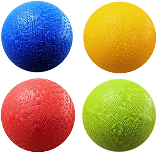 AppleRound 8.5-inch Dodgeball Playground Balls, Pack of 4 Balls with 1 Pump, Official Size for Dodge Ball, Handball, Camps and Schools (4 Balls and 1 Pump)