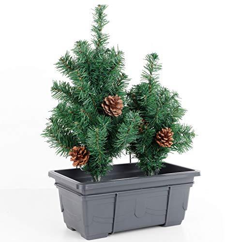 LED Blumenkasten mit künstlicher Tanne mit Halterung für Balkon - 20 LEDs Balkonkasten für Drinnen und Draußen Tannenbaum Weihnachtsbaum Tanne künstlich Weihnachtsbeleuchtung Weihnachts Fenster Deko