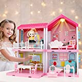 678 Dreamhouse Dollhouse Kit, Doll House Asseccories and Furniture, DIY Pretend Play Building Playset Toys with Doll and Lights, Dreamy Princess House for Toddlers, Kids Boys & Girls (4 Rooms)