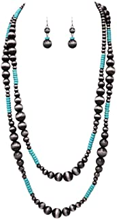 """Rosemarie Collections Women's Extra Long Metallic and Turquoise Bead Statement Western Necklace and Earrings Set, 60"""""""