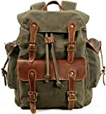 Waxed Canvas Leather Backpack for Men, Military Tactical Military Army Camping Hiking Rucksack for Travel (M85_Army Green)