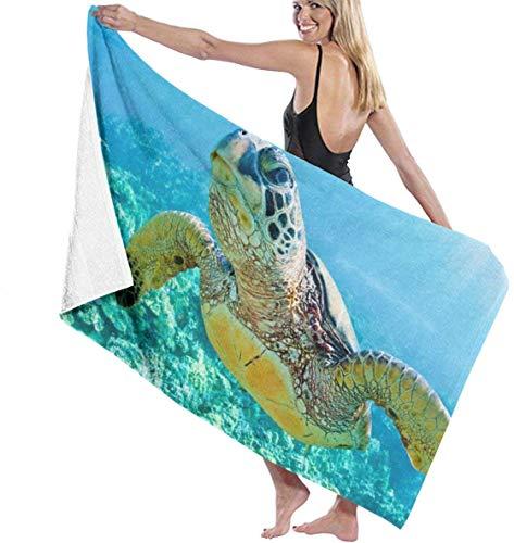 yunshenbuzhichu Badetuch Wrap Big Turtle Prints Damen Spa-Dusche und Wickeltücher Bademantel vertuschen für Damen Mädchen - Weiß