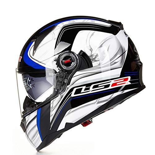 JIE KE Doppel-Objektiv Fiberglasfaser Motorradhelm Männer Anti-Fog Vier Jahreszeiten Laufen Helm Vollgesichts Helm Airbag (Farbe : C, größe : XXL(60-61cm))