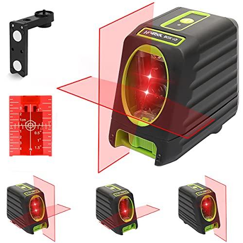 Huepar Kreuzlinienlaser Rot, Linienlaser Selbstnivellierenden mit Pulsfunktion, Umschaltbar Vertikale- und Horizontaler Linie mit H130° / V150° Abstrahlwinkel, 20m Arbeitsbereich M-BOX-1R