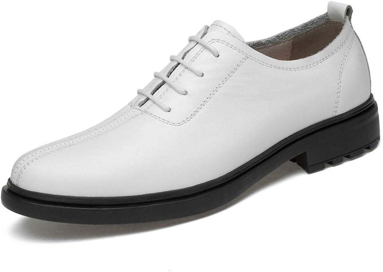 Fashion Casual shoes Set Foot Single shoes Men's shoes Men's Business Breathable Leather shoes Men's Boots (color   White, Size   41)