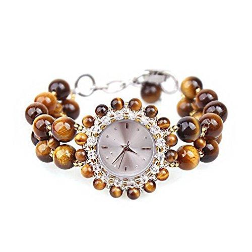 RFV Reloj Pulsera de Ojo de Tigre Natural Reloj de Moda señoras Ver R